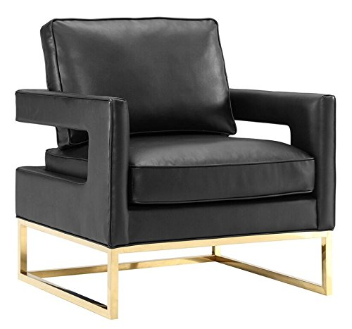 Tov Furniture The Avery Collection Modern Style Living Room Den Leather Upholstered Armchair with Gold Legs, -