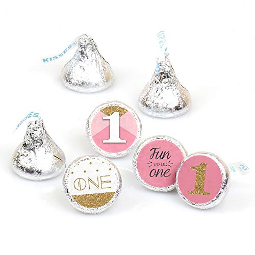 1st Birthday Girl - Fun to be One - First Birthday Party Round Candy Sticker Favors - Labels Fit Hershey's Kisses (1 Sheet of 108) -