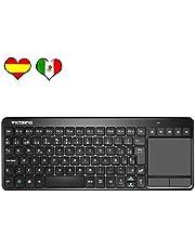 VicTsing Ultra Delgada Mini Teclado Inalámbrico Touchpad con 2.4G B Receptor, QWERTY Teclado Español Incluye Ñ para PC/Laptops/Tablet/Smart TV/Portátil – Negro