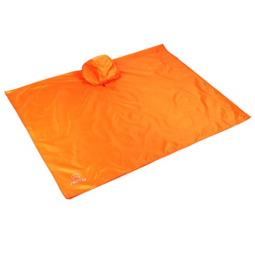 Vacio Outdoor Raincoat Waterproof, 3 in 1 Multifunctional Rain Poncho Travel Rain Poncho with Hood for Backpack Awning Climbing Camping Hiking Waterproof Camping Tent Mat(Orange) by Vacio (Image #1)