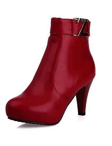 similpelle Xzz rotonda rosso punta Scarpe Stivali Uk2 rosso Eu34 Vestito Cn33 Ufficio 5 2 5 marrone nero moda tacco us4 donna 4 e lavoro cono da vZO7rnv
