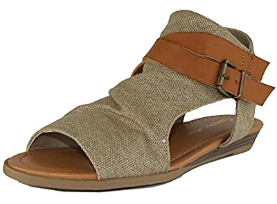 Cambridge Select Women's Crisscross Strappy Buckle Cutout Stacked Wedge Sandal