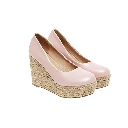 Latasa Womens Fashion Rope Woven Wedge High Heel Round-Toe Platform Espadrilles Dress Pumps Shoes Pink