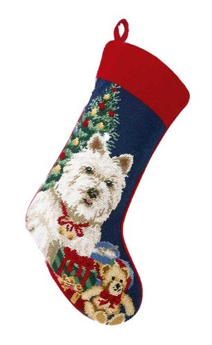 White Westie West Highland Terrier Christmas Stocking, Wool, Needlepoint, 11 Inch X 18 Inch
