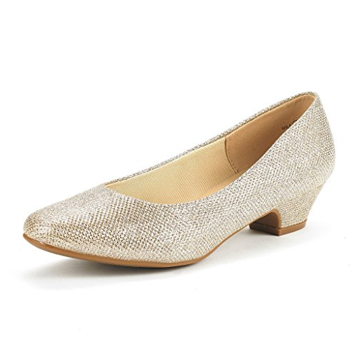 DREAM PAIRS Women's Mila Gold Glitter Low Chunky Heel Pump Shoes Size 7.5 M US
