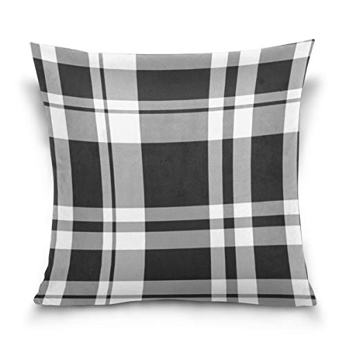 Aibileen Farmhouse Decor Black and White Buffalo Checkers Plaids Cotton Throw Pillow Cover,Home Decorative for Sofa 16x16/18x18/20x20 Inch ()