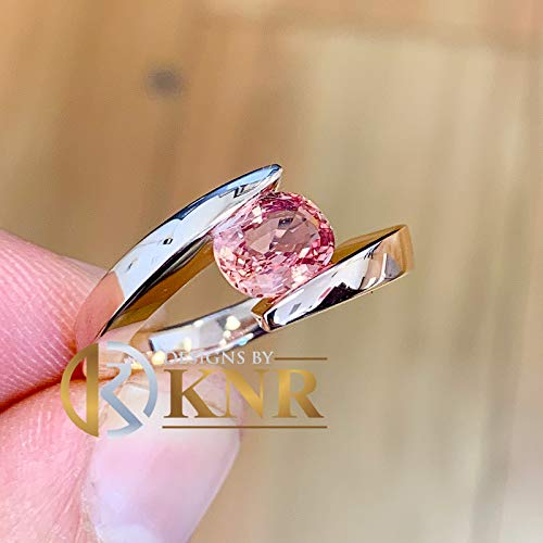 14K Solid White, Yellow, or Rose Gold oval light pink sapphire Tension Set Style, Engagement Ring Bridal Anniversary 1.50ctw