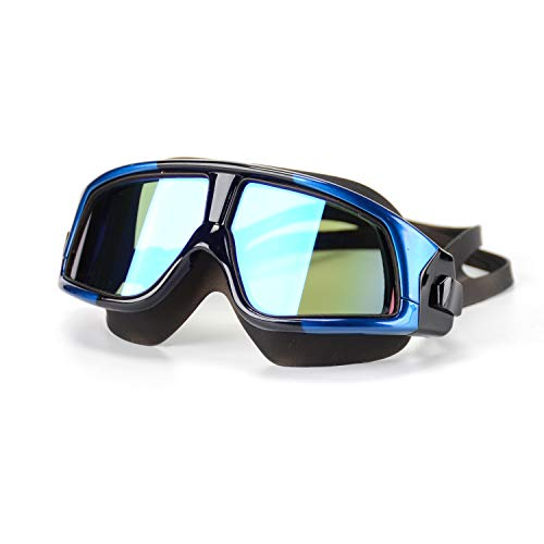(Premium Polarized Big Large Frame Swim Goggles, Swimming Goggles Anti Fog No Leaking with UV Protection and Clear Lens Wide-Vision for Men Women Adult Youth with Free Case,Nose Clip and Ear Plugs)
