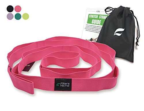 Fitters Niche Yoga Exercise Strap for Stretching,100% Cotton No Stretch, 10 Loops Adjustable, Free Carry Bag & Workout Guide (Rosy)