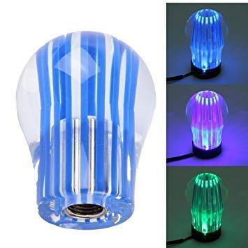 Uniqus Crystal Three Light Car Breathing Racing Dash LED Magic Lamp Gear Head Shift Knob with Base, Size  6.0  4.5  3.0 cm(bluee)