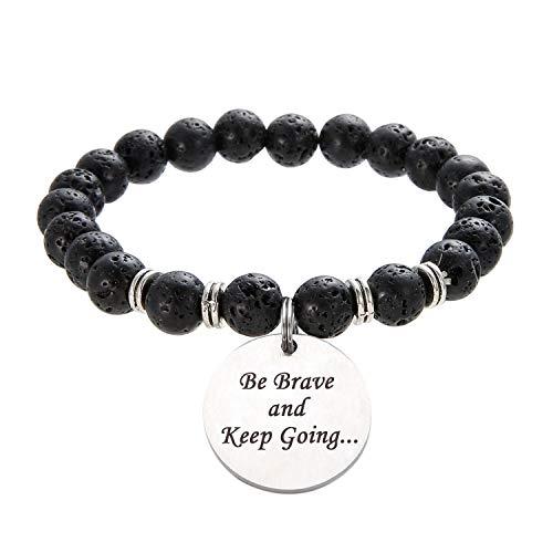 sedmart Healing Inspirational Bracelet Lava Bead Bracelet Stretch Charm Bracelet Meditation Yoga Bracelet Essential Oil Diffuser Bracelet Engraved