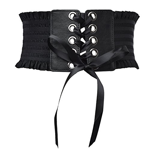 Women Elastic Lace up Waist Belt Wide Stretchy Retro Cinch Band ()