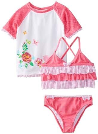 ABSORBA Baby Girls' Flower Swim Suit Set, White/Pink, 12 Months