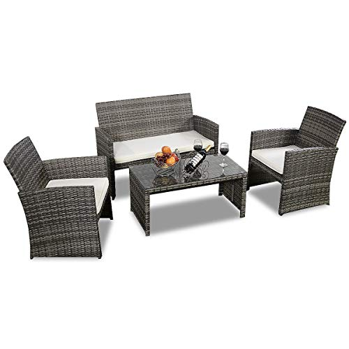 Goplus 4 PC Rattan Patio Furniture Set Garden Lawn Pool Backyard Outdoor Sofa Wicker Conversation Set with Weather Resistant Cushions and Tempered Glass Tabletop (Mix Gray)
