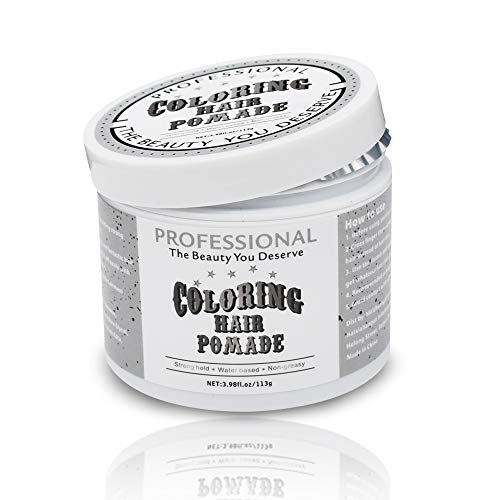 Hair Coloring Pomade Silver Grey Temporary Hair Dry Pomade for Party or Daily Use Instant Styling Color Mud by SWLKG