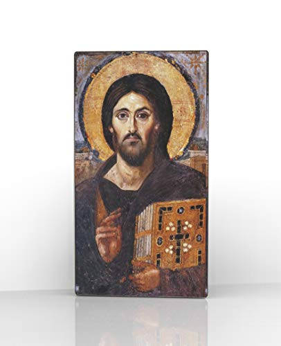 (Artel Russ Sinai Jesus Christ Pantocrator Russian Religious Icon Canvas Decor on Wood)