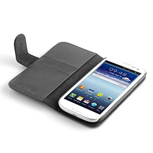 Caja del cuero de la haba de jalea de la PU y pluma de la aguja para Samsung Galaxy S3 i9300 - Negro