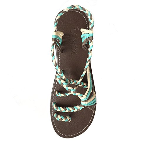 Offwhite Women Palm Turquoise for Sandals Leaf Plaka Gray Flat wUx8tHv