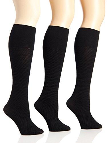 Sunny Socks Women's Queen Microfiber Opaque Links Patterned Trouser Knee High Socks - 3 Pack, Black, Plus Size (Microfiber Opaque Trouser Sock)