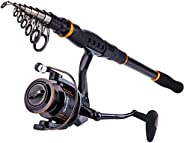 Sougayilang Fishing Rod Reel Combos Carbon Telescopic Fishing Rod Pole with Spinning Reel Line Lures Accessori