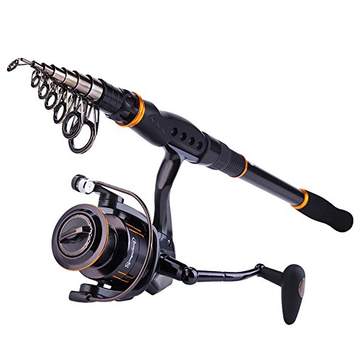 1x8' Bass - Sougayilang Fishing Rod Reel Combos, Collapsible Telescopic Fishing Pole with Spinning Reel Kit for Adults Kids Outdoor Sport Travel Freshwater Saltwater Fishing