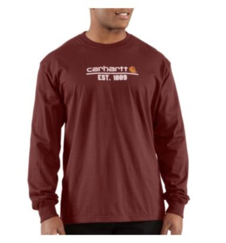 Carhartt Men's Classic Logo Long Sleeve T-Shirt Relaxed Fit,Port (Closeout),X-Large
