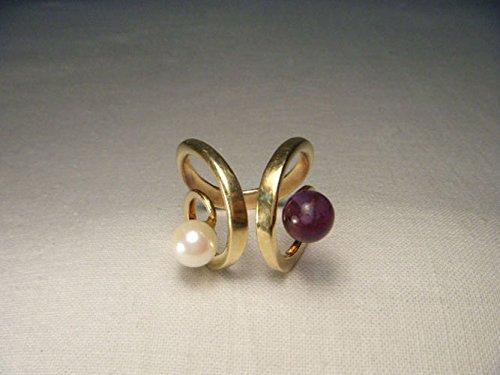 Gorgeous Estate 14K Yellow Gold Pearl Amethyst Designer Swirl Ring ()