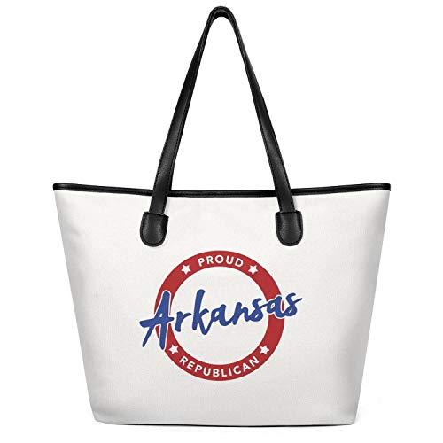 Ladies Proud-Arkansas-Republican- Canvas Handbag Shoulder Bag Large Capacity Tote Foldable Zippered Tote Creamy-White ()