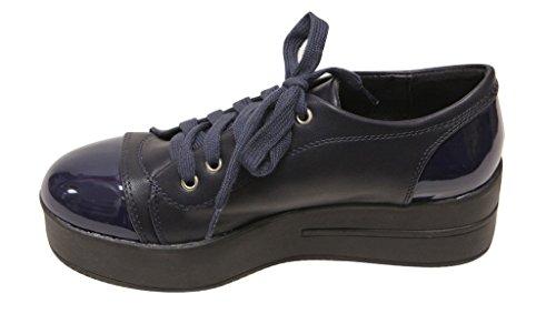 Bella Marie Teela-2 Dames 2016 Fashion Patent Ronde Neus Cap Back Lace Up Wedge Platform Platte Pu Sneakers Marine