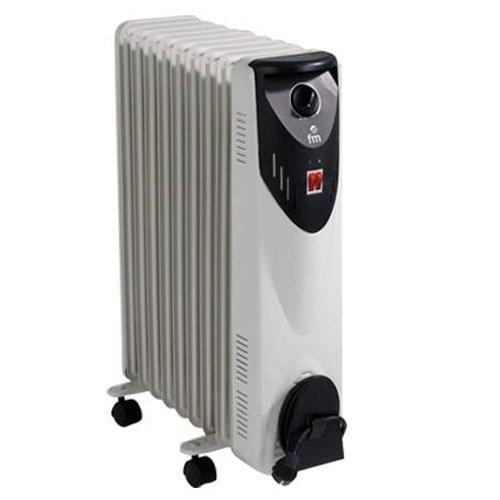 FM Calefaccion BR-20 Negro, Gris 2000W Radiador - Calefactor (Radiador, Piso, Negro, Gris, Giratorio, 2000 W, 800