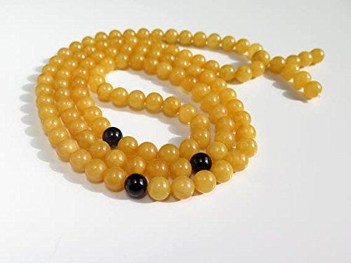 Honey Scotch (Mila Mala Rosary 9mm Egg Yolk Butterscotch Buddhist Prayer Beads Baltic Amber, Dark Honey Baltic Amber Mala Rosary)