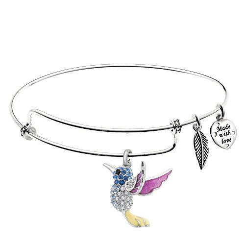 Qina C Rhodium On 925 Sterling Silver Hummingbird Enamel Charm Adjustable Bangle Made with Swarovski Crystal ()