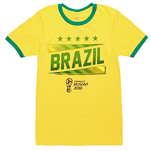 Fifth Sun World Cup 2018 Brazil Ringer Adult T-Shirt - Yellow (XX-Large)