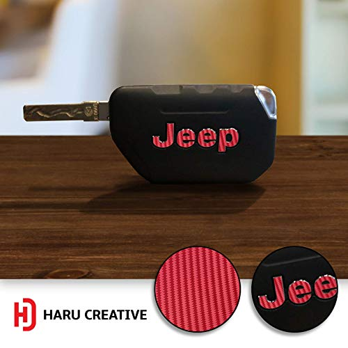Haru Creative - Key Fob Chain Emblem Logo Letter Overlay Insert Vinyl Decal Compatible with and Fits Jeep Wrangler JL 2018 - Carbon Fiber Red