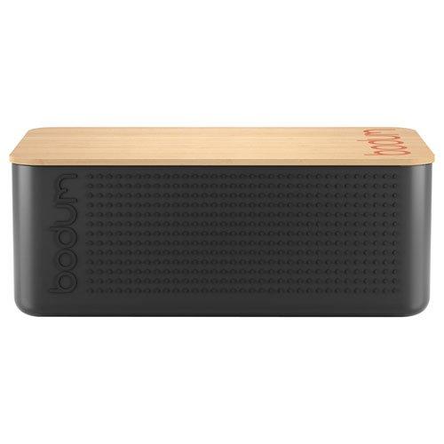 Bodum 11740-01 Bistro Bread Box Small Bread Box, Plastic, Wood, Black, 19.39 X 29.4 X 10.7 Cm, Plastic, Wood, Black, 19.399999999999999 X 29.4 X 10.7 Cm