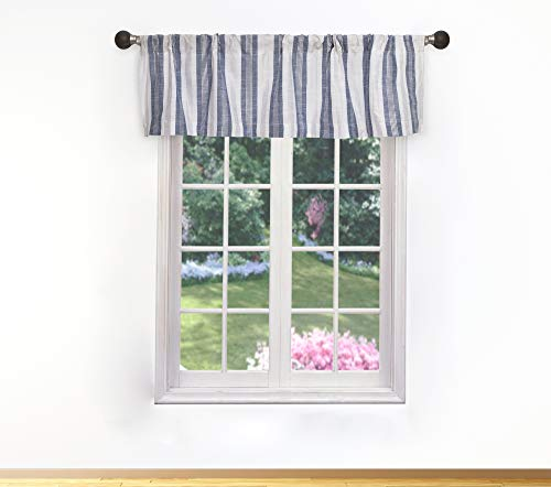 Home Maison Rhett Striped Linen Textured Curtain Valance Set for Small Kitchen Window, Cafe, Bath, Laundry or Bedroom, 58 X 15 Inch, Demin-White (Striped Valance Window)