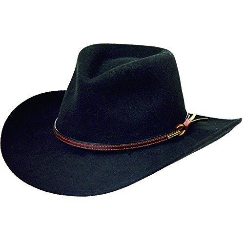 (Stetson Men's Bozeman Wool Felt Crushable Cowboy Hat Black Large)