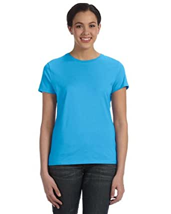 Hanes Ladies 4.5 oz., 100% Ringspun Cotton nano-T T-Shirt, Small, AQUATIC BLUE