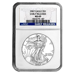 2007 Silver American Eagle (NGC MS-69) Early Release Blue Label