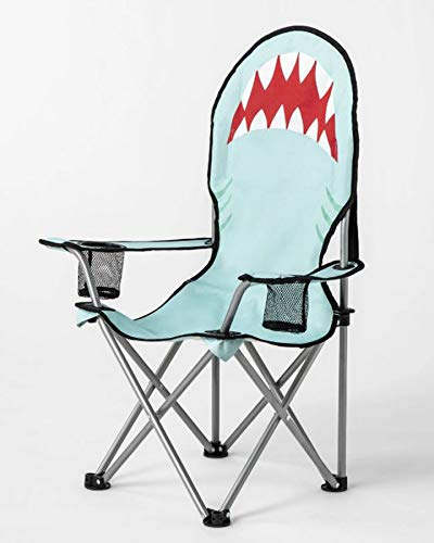Sun Squad Kids Beach Chair! Foldable Children's Chair for Camping, Tailgates, and Outdoor Events! Kids Folding Chair with Handy Cup Holder and Carrying Bag! Choose Your Kids Chair Design! (Shark) by Sun Squad (Image #1)