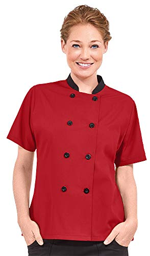 Women's Lightweight Short Sleeve Chef Coat (XS-3X, 3 Colors) (Medium, Red/Black) ()