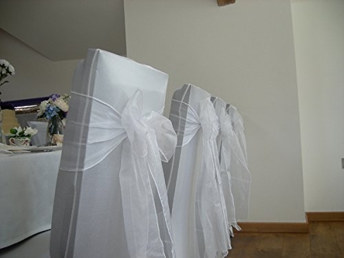 Mds Pack of 100 Organza chair sashes bow Sash for wedding and Events Supplies Party Decoration chair cover sash White