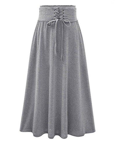 Maxifalda Elegante Plisada de Cintura Alta Faldas Largas para Mujeres Luz Gris