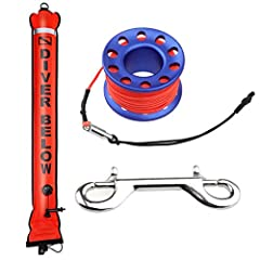 Description:   Scuba diving surface marker buoy SMB kit with dive reel finger spool and 15m line, double ended bolt snap clip safety gear equipment   High visibility inflatable surface marking buoy signal tube with reflective tape makes sure...