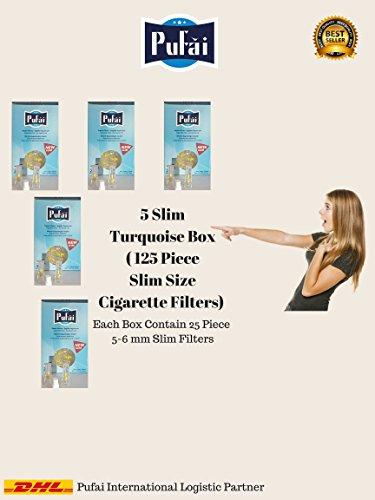 Slim cigarette filters holder , 125 piece slim and super slim cigarette filters in 5 turquoise box by Pufai.