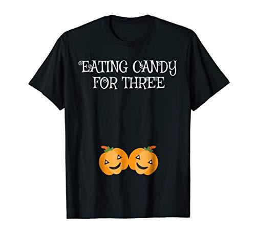 Halloween Pregnancy Announcement Pumpkin Twins T-Shirt