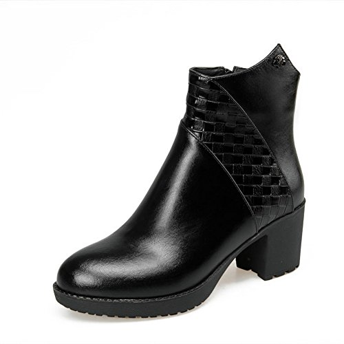 Non Boots WeiPoot and Solid toe Soft Women's Curves with Sole Material Black Closed Slipping Style xPHPYqaR
