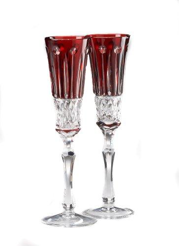 Elizabeth Chamapgne Flute Glasses, Ruby Red Crystal, Set of 2
