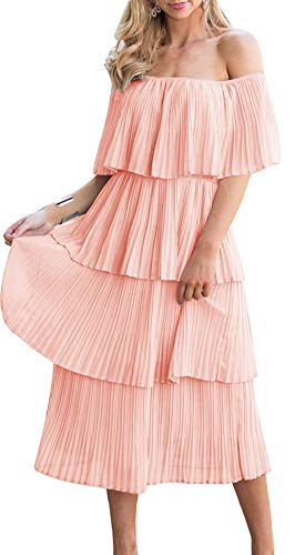 ETCYY Women's Off The Shoulder Ruffles Summer Loose Casual Chiffon Long Party Beach Maxi Dress Pink