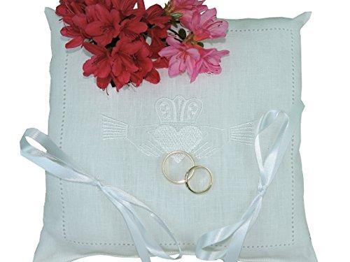 Irish Wedding Handkerchief (Thomas Ferguson Irish Linen Wedding Ring Cushion With Claddagh Heart Design)